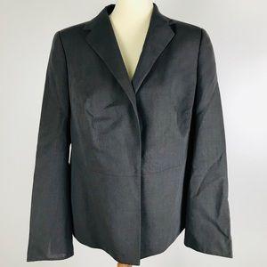Akris Deep Slate Grey Wool Career Blazer Jacket 14